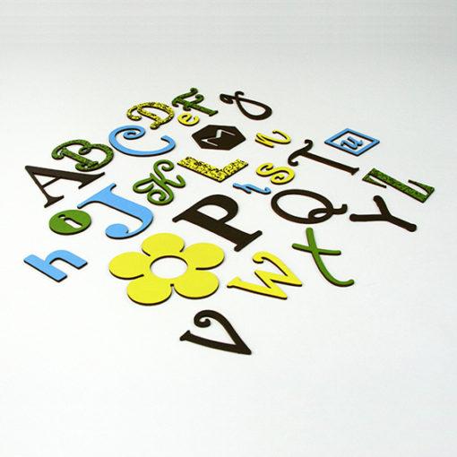 Linksmoji angliška abėcėlė - gamtos spalvos