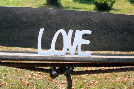 """Pastatomas medinis žodis """"Love"""""""